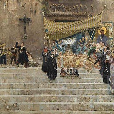 Michetti Francesco Paolo - Processione Corpus Domini 1876-1877