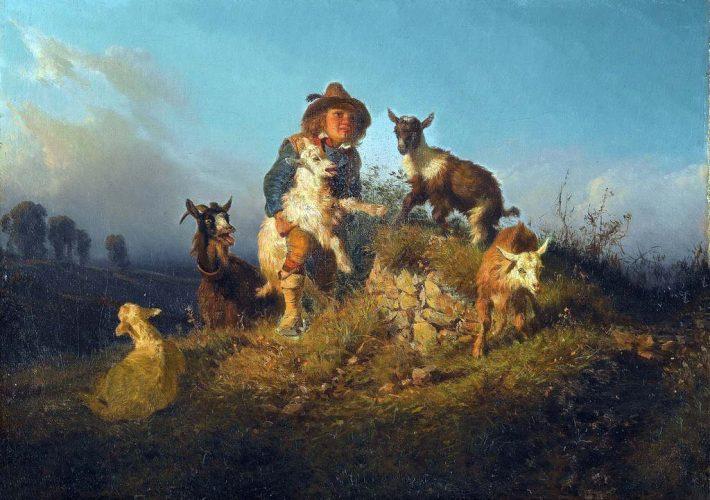 Palizzi Filippo - Il piccolo capraio, 1852. Olio su tela, 37 x 52 cm