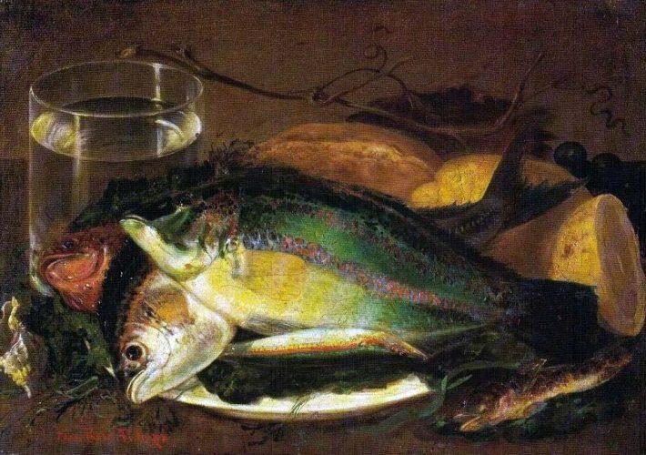 Francesco Paolo Palizzi. Pesci. Tecnica: Olio su tela, 39 x 27 cm