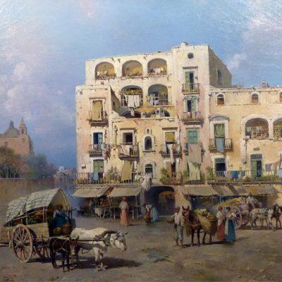 Salvatore Petruolo. Mercato a Basso Porto, 1890. Scuola napoletana