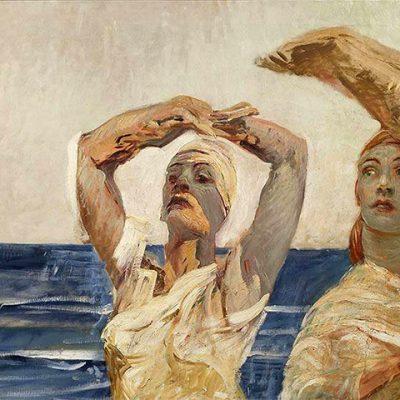 Giulio Aristide Sartorio. Elena e Cassandra. Olio su tela, 91x200 cm