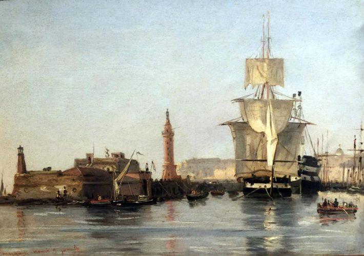 Smargiassi Gabriele - Porto di Napoli con il Faro di Santa Lucia, 1832. Tecnica: Olio su Carta