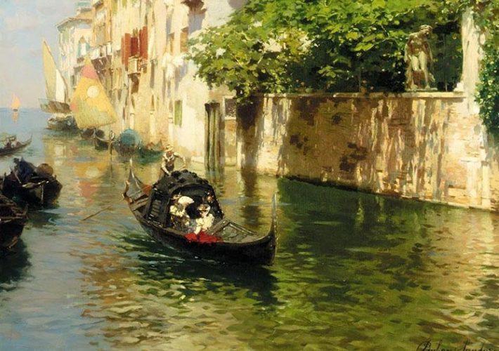 Rubens Santoro. Canale Marin, Venezia (dettaglio). Tecnica: Olio su Tela. Firma in basso a destra