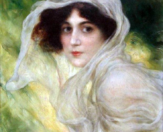 Carlo Wostry. Ritratto di Giovane Donna (dettaglio). Tecnica: Olio su Tela