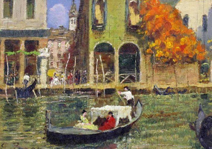Erma Zago. Gondola a Venezia. Tecnica: Olio su Compensato