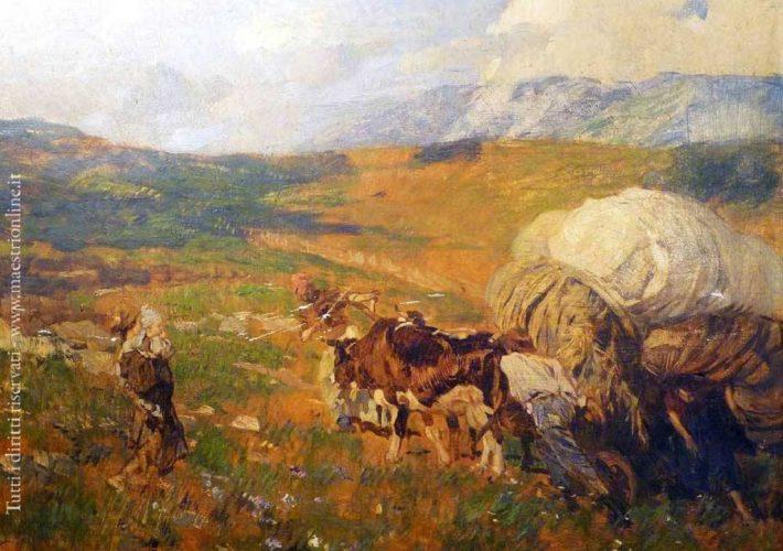 Ettore Tito. Il Raccolto del Fieno ad Asiago. Tecnica: Olio su tavola, 47 x 64 cm