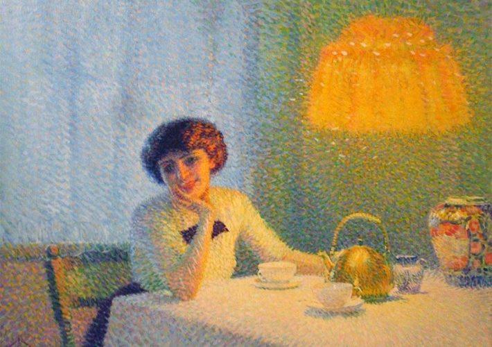"""Aleardo Terzi. Meriggio d'Autunno, 1913 (dettaglio). Tecnica: Olio su tela. Firmato in basso a sinistra """"A. Terzi 1913"""". Firmato in basso a sinistra """"A. Terzi 1913""""."""