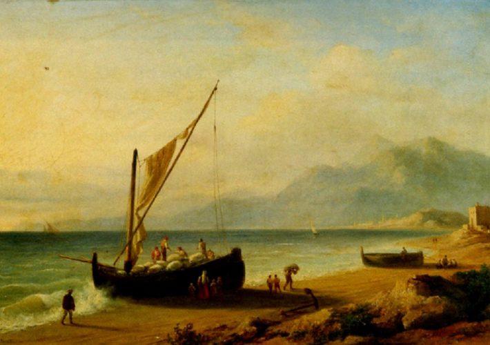 Felice Ferdinando Storelli. Marina con Barche. Tecnica: Olio su tela