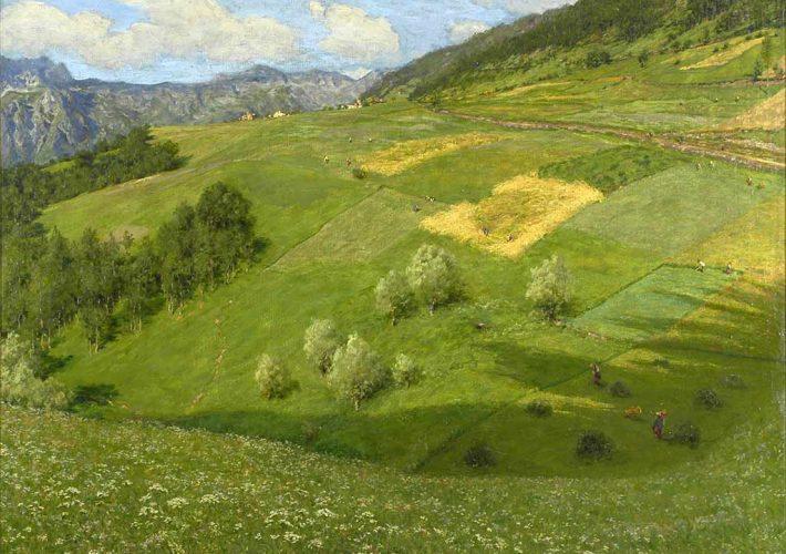 Arnaldo Soldini. Paesaggio della Val Camonica - Olio su tela 100 x 120 cm