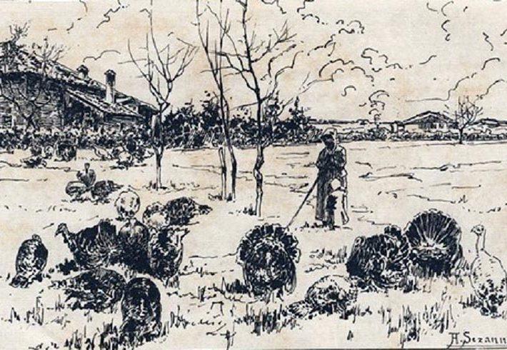 Augusto Sezanne. Una Giornata di Dicembre, Animali - Disegno