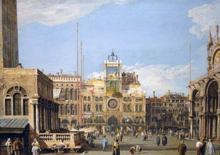 Canaletto. La Piazzetta verso la Torre dell' Orologio, c. 1730 (dettaglio) - Nelson Atkins Museum of Art, Kansas City