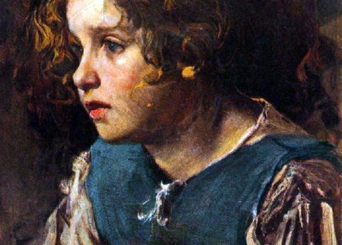 Cesare Tallone. Lucy (Studio). Tecnica: Tempera su Carta