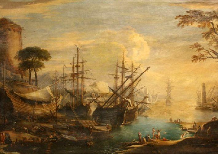 Giovanni Signorini. Veduta di un Porto - Olio su Tela, 81,9 x 134,6 cm