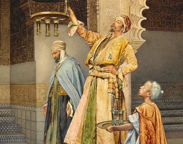 Giuseppe Signorini. L'Accensione della Lampada nella Moschea - Aacquarello su Carta, 30,5 x 19,2 cm