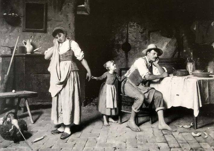 Luigi Scaffai. Scena Familiare - Tecnica: Olio su Tela applicata su Tavola, 75 x 100 cm