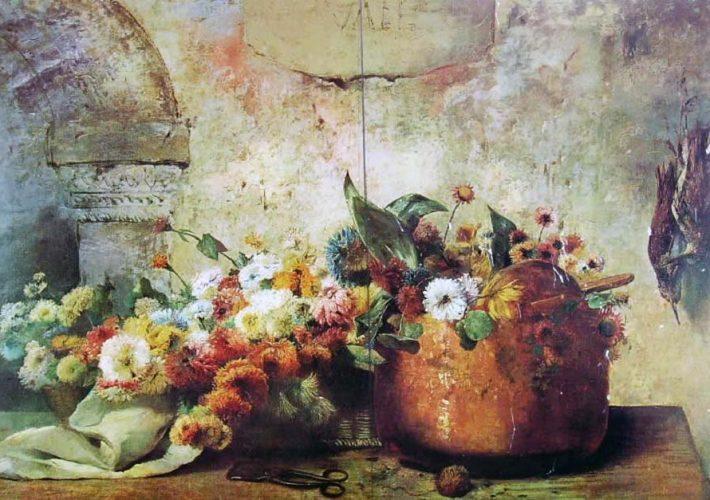 Luigi Scrosati. Secchio di Rame con Fiori - Tecnica: Olio su Tela, 78 x 127 cm