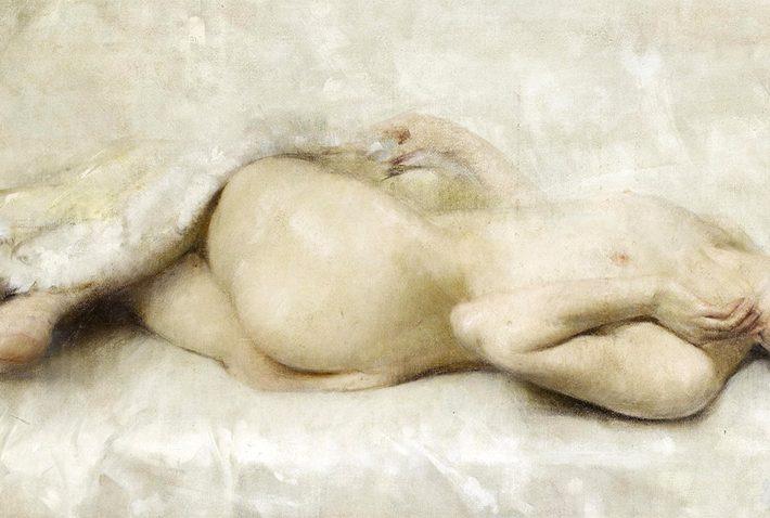 Luigi Serralunga. Nudo Sdraiato (dettaglio). Tecnica Olio su Tela, 49 x 99 cm