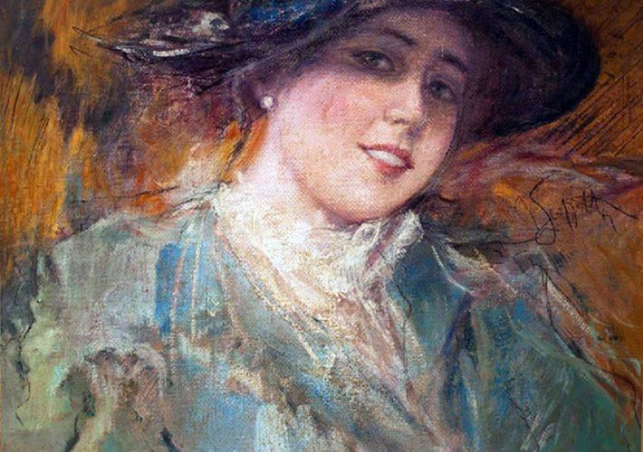 Pietro Scoppetta. Ritratto di fanciulla - Olio su tela, cm 37×37