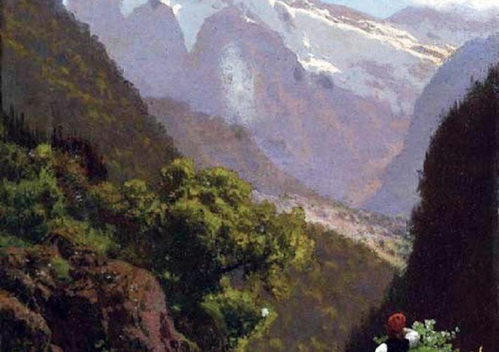Pietro Senno. Valle Inferiore di Gundelwald, Effetto di Mattino - Tecnica: Olio su tela, 39 x 31 cm