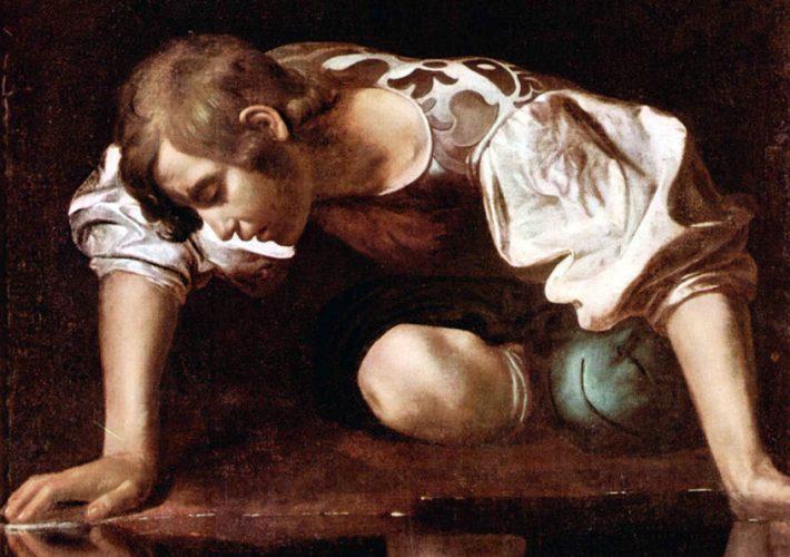 Eco e Narciso. Caravaggio. Narciso alla fonte, 1597-1599 (dettaglio). Olio su Tela, 92 x 112 cm, Galleria Nazionale d'Arte Antica, Palazzo Barberini, Roma