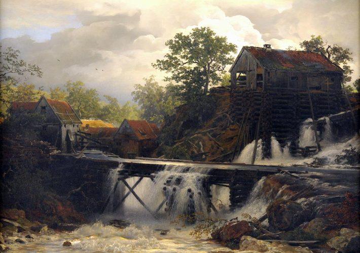 Andreas Achenbach. Mulino in una Cascata di Montagna - Tecnica: Olio su Tela, 70 x 100 cm