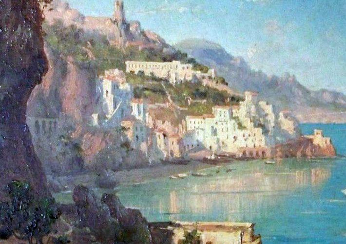 Domenico Ammirato. Veduta di Amalfi - Olio su Tela