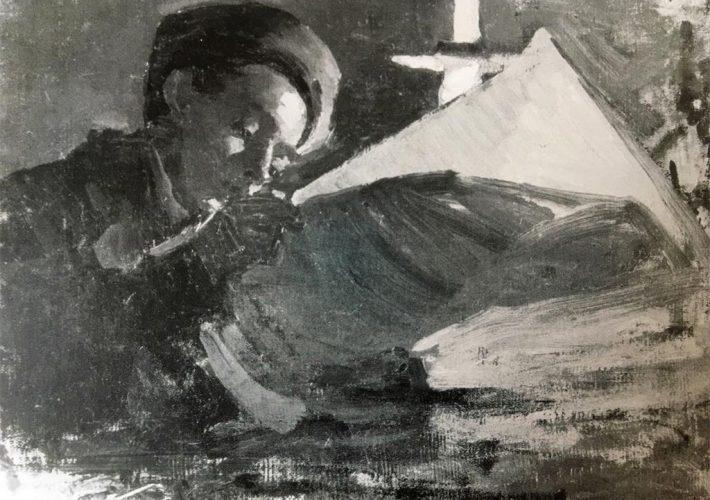 Ezechiele Acerbi. Mario che Legge - Olio su Tela Applicata su Cartone, 25 x 33,8 cm