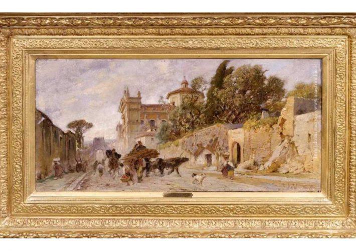 Franz Theodor Aerni. Popolani a Roma - Tecnica: Olio su Tela, 34 x 69 cm