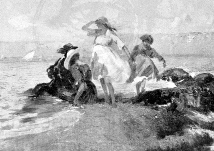 Giuseppe Aprea. Sulla Spiaggia - Olio su Tela