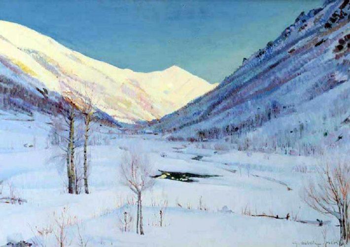 Giuseppe Sobrile. Nevicata a Forno Alpi Graie - Tecnica: Olio su tela, 47,5 x 75 cm