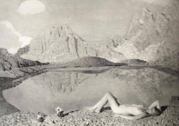 Oreste Albertini. Al Sole in Riva al Lago - Tecnica: Olio su Tavola,50 x 60 cm