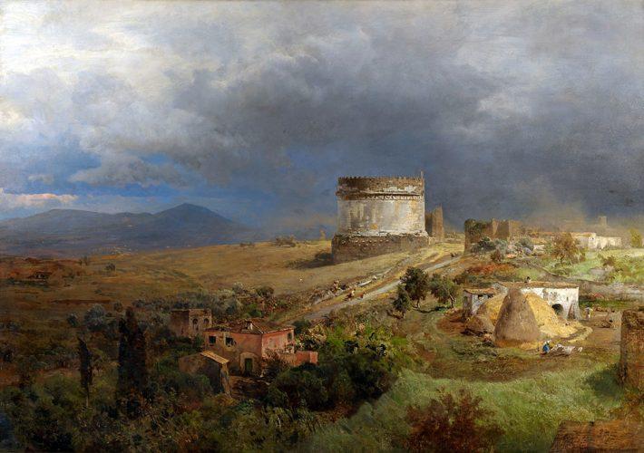 Oswald Achenbach. Via Appia con la Tomba di Cecilia Metella - Tecnica: Olio su tela, 100 x 145 cm