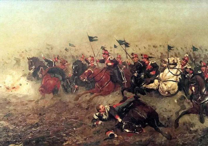 Giuseppe Aureli. La Carica dei Lancieri di Aosta nella Battaglia di Custoza del 1866. Tecnica: Olio su Tela. Firmato e Titolato sul Retro