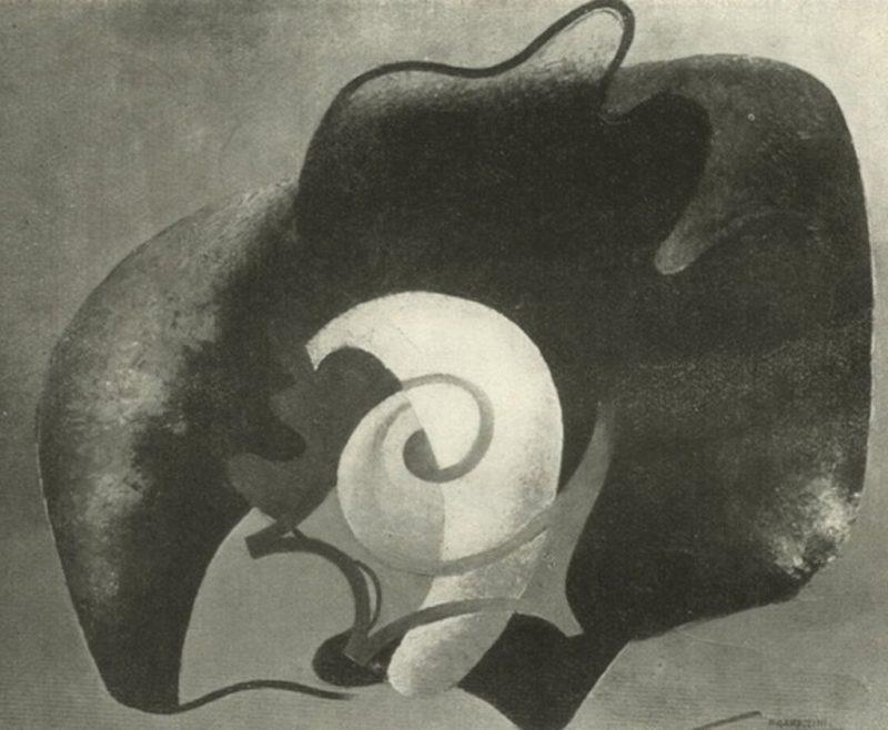 Enrico Prampolini, Metamorfosi di roccia in alga conchiglia, 1935