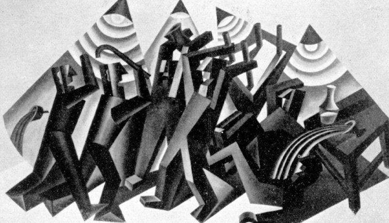 Fortunato Depero. La rissa, 1926 - Tecnica: Olio su Tela 149 x 255 cm. MART, Fondo Depero. © Fortunato Depero by SIAE 2018