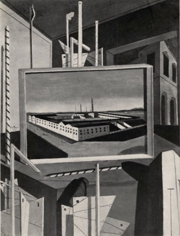Giorgio De Chirico. Interno Metafisico con grande Officina, 1916 (dettaglio), 200 x 150 cm