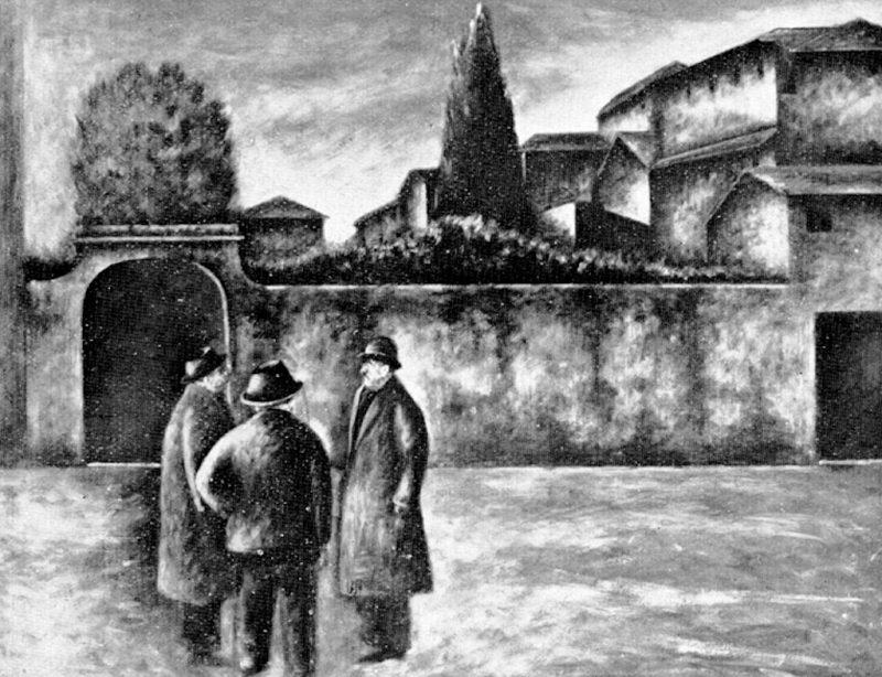 Ottone Rosai. Piazza del Carmine - Tecnica: Olio su Cartone, cm. 31,6x46