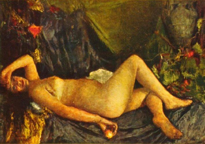 Antonio Mancini. Donna Nuda con Drappo Verde - Tecnica: Olio su Tela