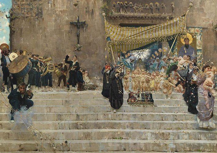 Francesco Paolo Michetti. La Processione del Corpus Domini a Chieti, 1877 (dettaglio). Tecnica: Olio su Tela, 100 x 200 cm