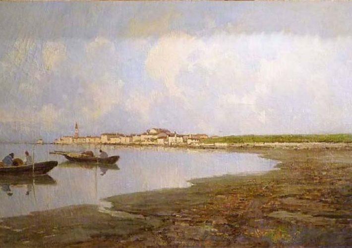 Francesco Sartorelli. Laguna Veneta (1899) - Tecnica: Olio su tela, 60 x 101 cm