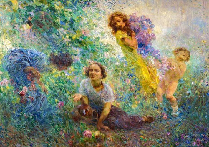 Plinio Nomellini. Primavera Fiorentina - Tecnica: Olio su Tela, 115 x 158 cm. Firma in basso a sinistra