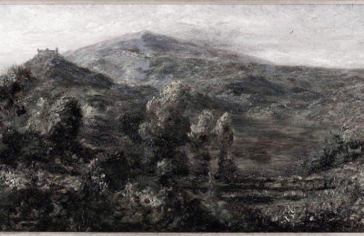 Simone Salassa. Il Castello di Montaldo Dora - Tecnica: Olio su Cartone, 40,5 x 70 cm