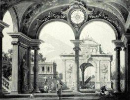 Canaletto. Capriccio, Portico di un Palazzo. Tecnica: Olio su tela. Collezione Duca di Norfolk