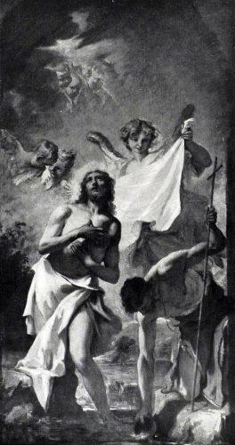 Sebastiano Ricci. Battesimo di Gesù. Tecnica: Olio su tela. Feltre, Museo Diocesano d'Arte Sacra