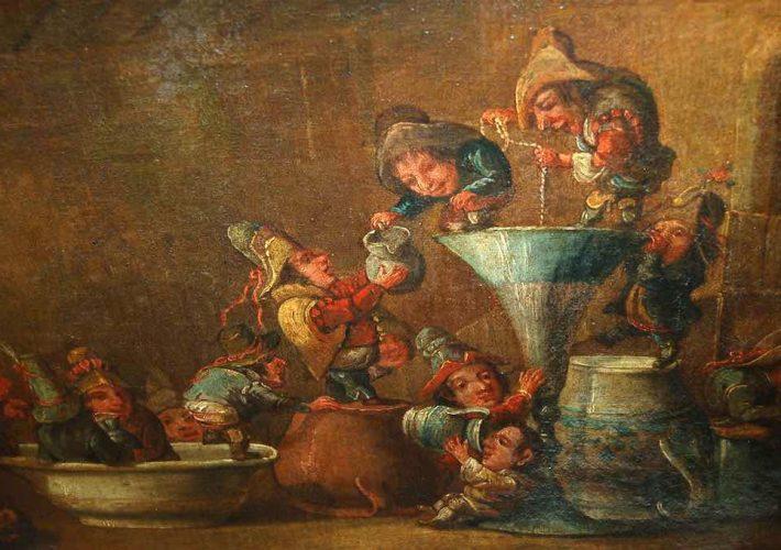 Enrico Albricci. Allegoria di Nani. Tecnica: Olio su tela, 57 x 72 cm