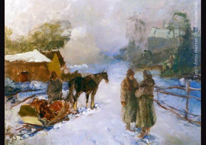 Alessio Issupoff. Fattoria nel Bosco, 1937. Tecnica: Olio su masonite, 50 x 60 cm