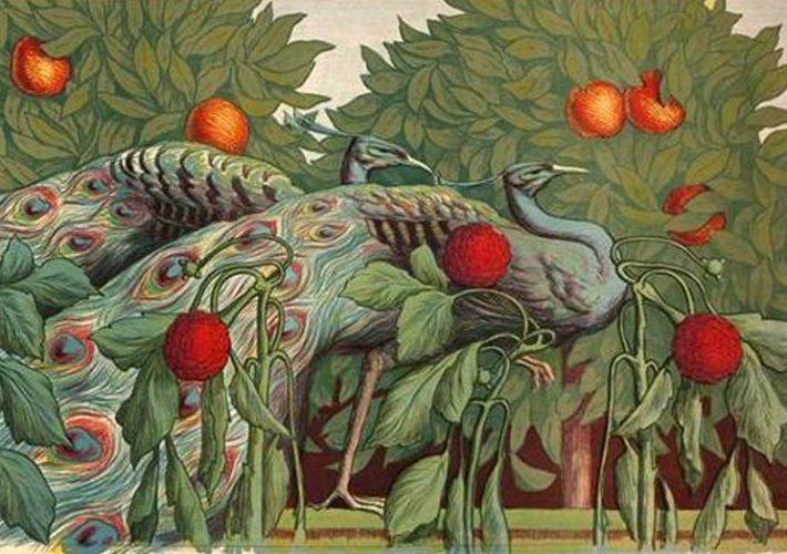 Art Nouveau. Alfredo Müller.. Les Paons, 1903 (dettaglio).