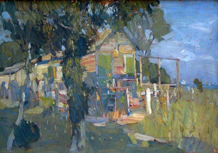 Umberto Moggioli. Casa con Albero. Tecnica: Olio su cartone, 50 x 71 cm
