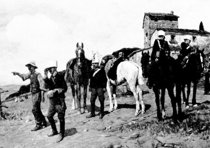 Ruggero Panerai. Pattuglia di Cavalleria in Perlustrazione. Tecnica: Olio su tela, 80 x 120 cm