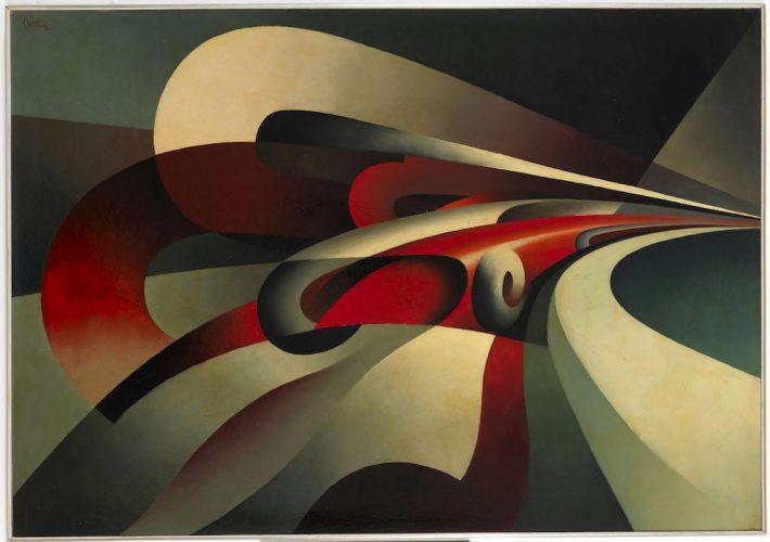 Costruire lo spazio. Tullio Crali. Le Forze della curva, 1930. Tecnica: Olio su cartone. Mart, Museo d'Arte Moderna e Contemporanea di Trento e Rovereto
